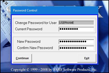 SARS Trak Admin Password Control menu